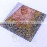 Rose Quartz Orgonite Aluminium Layer Pyramid With Crystal Point : Wholesale Orgonite Products
