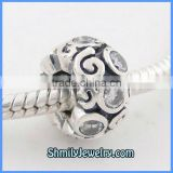 Wholesale 925 Sterling Silver White CZ European Beads BCZ18C