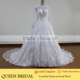 QUEEN BRIDAL 2016 New Design Ball Gown Luxury Bridal Arabic Wedding Dress Lace Long Sleeve