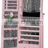 High pink wheels wooden Jewerlry mirror cabinet with MDF construction