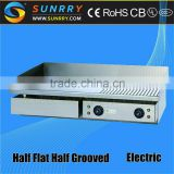 Price of commercial table-top 2/3 flat and 1/3 grooved electric vertical chicken grill pan machine