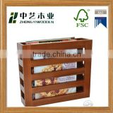 Natural colour custom logo high quality new design unfinished handmade wooden office magazine rack wooden file rack