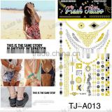 Removable Waterproof Gold Tattoo Metallic Temporary Tattoo Stickers Temporary Body Art Tatoo