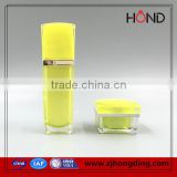 hongding popular hot selling yellow amber plastic square jar lids, acrylic plastic cosmetic bottle and jar set