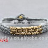 New style products brass bell handmade woven Alloy silver bead wholesale paracord buckle Bracelet