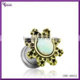 304L Surgical Steel Body Piercing Jewelry Internal Thread Unique Opal Ear Tunnels Piercings Jewelry