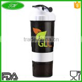 500ml high quality bpa free protein shaker bottle with pill box and white lid