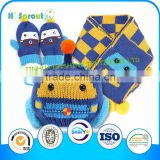 Latest Design Comfortable baby knitted hat glove and scarf set