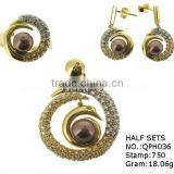 QPH036 18k gold jewelry sets wholesale from guangzhou,latest design earrings&pendant&ring jewelry sets with pearl 2013