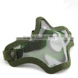 V1 Version Single Belt Strike Steel Mesh Half Face Protective Paintball Airsoft Mask