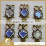 The owl shape metal high quality anti-brass pendant as fashion decoration