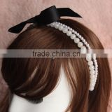 10MM festival bridal round pearl head crowns wedding bead wreath headband with knot ribbon for hair accessories jewelry