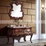 WTS3022 39 inch customized wooden classical antique bathroom furniture in cherry yellow finished