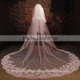 2015 wholesale long squins lace cathedral wedding veils accessories two layers 3 meters long and 1.5 meters width with comb LV06