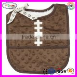 E100 Baby Boys Football Pocket Bib Soft Velboa Minky Fleece Lining Bib Football