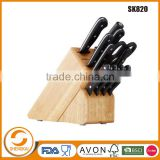 Wholesale 13 PCS Stainless Steel kitchen knives In PP Handle With Wooden Block