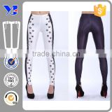 Fashion Lady Black Dot Print Double Side Color Custom Printed Leggings