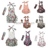 Summer baby clothing hot sale baby girl floral bubble romper infant and toddler baby romper with matching headband