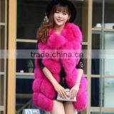 CN-R-2 Top fashion factory price beautiful and comfortable real fox fur no collar vest for women