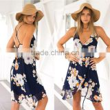 2016 Summer New Euro Style Flower printed Sleeveless Condole belt dress /gallus dress /sexy chiffon casual dress for ladies