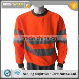 Polyester inner brush fleece hi vis jacket safety sweatshirt with tapes meet EN ISO20471