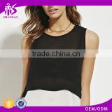 2016 guangzhou shandao oem service summer new design chiffon sleeveless fashion lady black and white tank top in bulk
