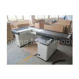 3M White Stainless Steel Supermarket Checkout Counter With Conveyor Belt