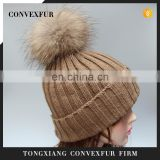 Fur bobble hats for women lady beanies raccoon fur bobble knitted beanies