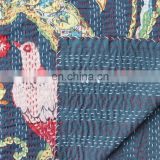 Indian Handmade White Bird Floral Kantha Bedspread Quilt Throw Coverlet Decorative Gudari Art Indian Textile Queen Size Blanket