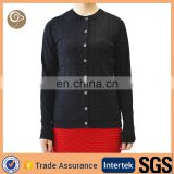 16gg women fashion black knitted 100% cashmere sweater