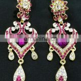 Innovative Designer Gold Plated Bollywood Style Kundan Earrings Set In Purple Color