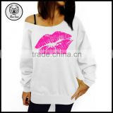 Couple Lover Sweatshirt 2015 Latest Design Women One Shoulder French Terry Wholesale Crewneck Sweatshirt with Sexy Red Lip Print
