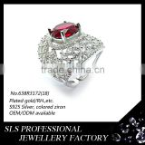 American style 14k white gold plated ruby and diamond 2016 fashion jewelry big ring