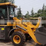 Hydraulic 1.2ton wheel loader,fork,4wd with CE,49.6HP engine,joystick,wider tyre,cabin,adjustable steering