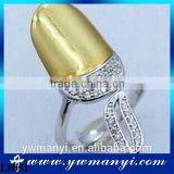 Hot Korean Charm Gold&Silver Plated Exquisite Filled Rhinestone Crystal Nail Rings for Women Jewelry L0051
