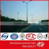 OEM/ODM Double Arms Galvanized Tapered Steel Lamp Post Street Lighting Pole with Powder Coating
