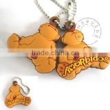 Manufacturer Souvenir Personality Rubber Bear Animal Keychain Attached Ball Chain