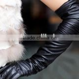 2014 Women Fahion Black Leather Long Glove for Party