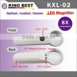 KING BEST 8X led light magnifier gifts light magnifier bright LED magnifier handheld magnifier