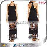 sexy chinese girl picture new model satin necklace halter dress black lace overlay dress patterns