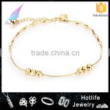eco-friendly 2016 new design women gold anklet jewellery with bell