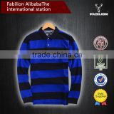 High quality Classic mens 100% cotton yarn dyed stripe rugby style for polo shirt design
