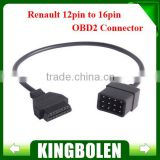 Renault 12 Pin OBD 2 Connector Adapter Car Accessories Diagnostic Extension Cable 16 Pin in stock