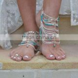 Foreign trade in Europe and America bohemian retro turquoise beaded chain tassel exaggerated multilayer anklets