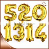 Hot sale 16inch number balloons gold and silver for wedding decoration                                                                         Quality Choice