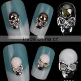 3D Nail Art Rhinestone White & Black Color Skull Pattern Punk Style Alloy Nail Art Tools for Glitter Manicure Tools