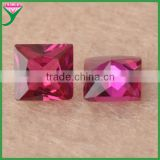 wholesale 8*8mm square cut synthetic blood ruby gemstone for ring