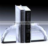 Wholesale cheap k9 crystal glass bookend with customized logo for office desk decoration