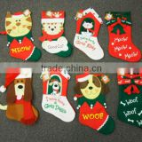 fleece decorative christmas stocking with applique embroidery