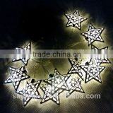 12L LED solar silver mental twinkle lights christmas lights with stars